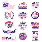 Usa Labels. Flag Made America American States Flags Label Badge Stamp Star Patriot Stripe Ribbon Emb poster