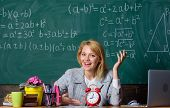 Teacher With Alarm Clock At Blackboard. Back To School. Teachers Day. Study And Education. Modern Sc poster