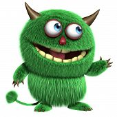 stock photo of bigfoot  - 3d cartoon cute green furry alien monster - JPG