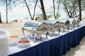 foto of chafing  - buffet lunch outdoor located at panambungan island makassar indonesia - JPG
