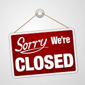 picture of apologize  - Closed retail store red vector illustration symbol - JPG