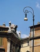 Lamppost With European Buildings poster