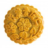 Traditional mooncake isolated on white background. Chinese mid autumn festival foods. The Chinese wo