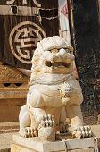 Постер, плакат: Guardian Лев в тибетском монастыре Songzanlin Шангри Ла Китай