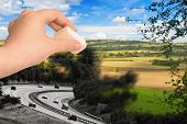stock photo of urbanisation  - Concept image erasing the countryside to make way for urban development  - JPG
