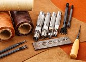 stock photo of leather tool  - Craft tool for handmade leather - JPG