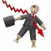 pic of voodoo  - 3d concept with businessman voodoo doll and the graph - JPG