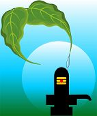 pic of lingam  - Illustration of  Shivling statue and banyan leafs - JPG