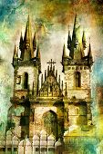 Prague - cathedral - artwork in painting style