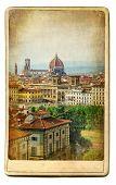 European landmarks series - vintage card- Florence poster