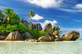 stock photo of granite  - granite rocky beaches on Seychelles islands - JPG