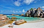 pic of unique landscape  - amazing Seychelles with unique granite rocks - JPG