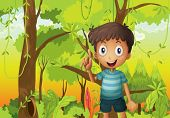 foto of hollow log  - Illustration of a forest with a young boy wearing a stripe tshirt - JPG