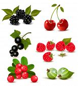 picture of black-cherry  - Big group of fresh berries and cherries - JPG