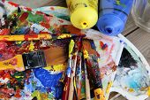 picture of bute  - Art palette with a lot of paints and paintbrushes - JPG
