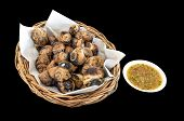 foto of escargot  - Grilled Thai Escargot Shells with seafood dipping sauce - JPG