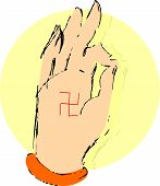 stock photo of swastika  - Illustration of a hand with swastika symbols - JPG