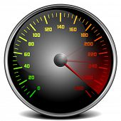 stock photo of mph  - illustration of a speedometer gauge - JPG