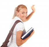 pic of bye  - Closeup on happy student girl walking away and waving bye - JPG