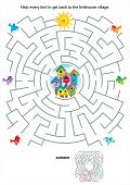 stock photo of quiz  - Maze game or activity page for kids - JPG