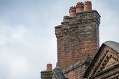 picture of chimney  - Victorian British chimney stack seen in home counties town - JPG
