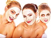 pic of beauty parlour  - Group women with  facial mask in beauty spa - JPG