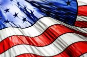 picture of waving american flag  - Detail closeup of American Flag with focus on one white star - JPG