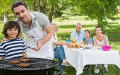 picture of extended family  - Father and son at barbecue grill with extended family having lunch in the park - JPG