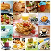 stock photo of bagel  - Collage showing delicious breakfast including pancakes - JPG