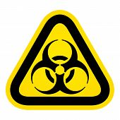 stock photo of biohazard symbol  - Triangle Yellow Biohazard Sign - JPG