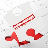 Finance concept: Procurement Management on puzzle background