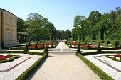 WARSAW, POLAND - AUGUST 8: Summer view of park in Wilanow Royal Palace on Aug 8 2013. The palace was