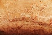 stock photo of algeria  - Famous Great God of Sefar one of oldest rock paintings in Sahara - JPG