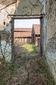 Look Through The Doorway Of A Dilapidated House