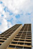 foto of overpopulation  - Towering residential apartment with birds circling in the sky - JPG