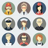 stock photo of priest  - Set of Circle Flat Icons with Man of Different Professions - JPG