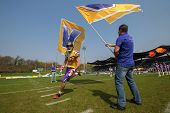 VIENNA,  AUSTRIA - APRIL 21 WR Stefan Holzinger (#17 Vikings) enters the stadium before the AFL foot