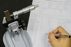 stock photo of micrometer  - Calibration Micrometer In Laboratory Center At Factory  - JPG