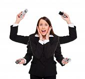 stock photo of superwoman  - stressed woman with telephones in her hands - JPG