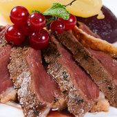 picture of duck breast  - Duck breast in wine sauce close up