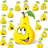 picture of rogue  - pear cartoon with many expressions isolated on white background - JPG