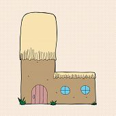 foto of mud-hut  - Cute mud hut with thatched roof as letter  - JPG