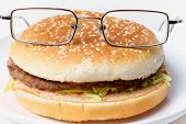 picture of ruddy-faced  - Jolly clever sandwich with glasses on a plate - JPG