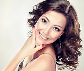 picture of long nails  - Beautiful model with long curly hair  - JPG