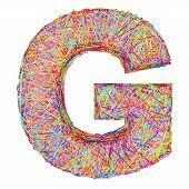 picture of g-string  - Alphabet symbol letter G composed of colorful striplines isolated on white - JPG