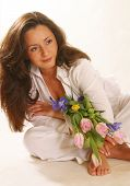 Portrait With Spring Flowers poster