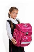 picture of girlie  - Little girl in school uniform with pink briefcase on white background - JPG