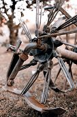 picture of horse plowing  - Old agricultural machine or tool  - JPG