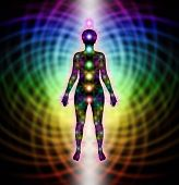 image of chakra  - Female silhouette diagram showing position of seven chakras on a rainbow matrix background - JPG