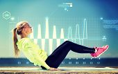 stock photo of cardio exercise  - fitness and lifestyle concept  - JPG